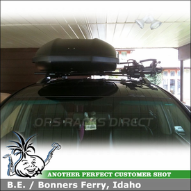 2008 Toyota Highlander Bike Roof Rack and Cargo Box with Yakima RailGrab Kit, SkyBox 21 & Thule 594XT SideArm Bike Racks