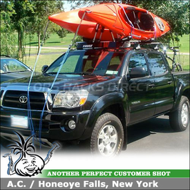 2008 Toyota Tacoma Cab Roof Rack Kayak Racks using Thule 480R Rapid Traverse & 1511 Fit Kit, 835PRO Hull-a-Port & 872XT Fairing