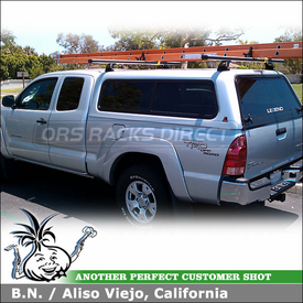 2008 Toyota Tacoma Leer Cap Rack using Thule / DeWalt 342 Camper Shell - Topper Rack