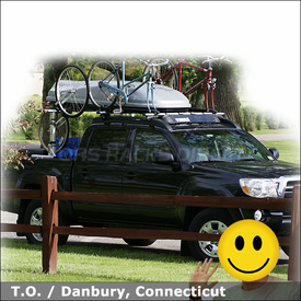 2008 Toyota Tacoma SR5 Roof Rack & Accessories with Thule 450R Rapid CrossRoad System, 871XT Fairing and Older Model Bike & Cargo Racks