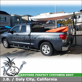 2008 Toyota Tundra Kayak Truck Rack using Yakima Q Towers Half Pack, Q99 Clips, DryDock & Mako Saddles-HullyRoller