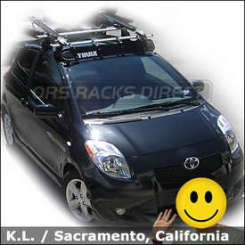 2008 Toyota Yaris Roof Rack & Bike Carriers with Thule 400XTR System, 517 Peloton and 871XT Fairing