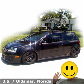 2008 VW GTI Roof Rack for Bike with Yakima Q Tower System & Rocky Mounts Lariat SL