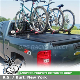 2009 Chevy Silverado Z71 Tonneau Cover Rack & Bike Carriers using Thule 430 Tracker II Rack System w/ TK1 Tracker Kit