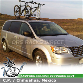 2009 Chrysler Town & Country Bike Racks for Factory Rack Crossbars using Inno INA383 Fork Lock II Bike Carriers