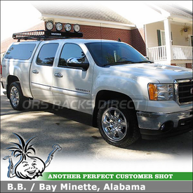 "2009 GMC Sierra Camper Shell Roof Tracks Rack & Cargo Basket using Yakima 60"" Tracks, Control Towers & MegaWarrior Basket"