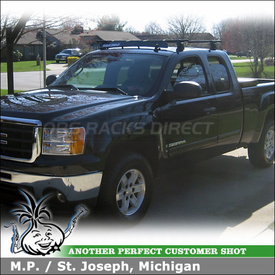 "2009 GMC Sierra Truck Cab Roof Rack and Fairing with Yakima Q Towers, Q118 Clips & 50"" Fairing"
