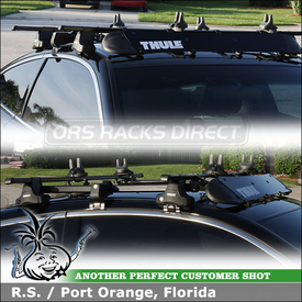 2009 Honda Accord 2-Door Roof Rack Surfboard Carrier using Thule 480 Traverse System, 1559 Traverse Fit Kit, 487 Adapter, 872XT Fairing & 554XT Hang-Two