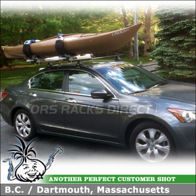 2009 Honda Accord Kayak Roof Rack using Thule 480 Traverse Foot Pack, 1560 Traverse Fit Kit & 897XT Hullavator Kayak Rack