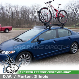 "2009 Honda Civic Bike Roof Rack Fairing System using Yakima Q Towers w/ Q99 & Q131 Clips, 50"" Wind  Deflector & Frontloader Bike Rack"