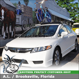 "2009 Honda Civic Bike Roof Rack & Wind Fairing using Yakima Q Towers (w/ Q99 Clips & Q131 Clips), HighRoller & 50"" Faring"