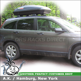 2009 Honda CRV Roof Rack Cargo Box with Yakima RocketBox 15s Luggage Roof Box