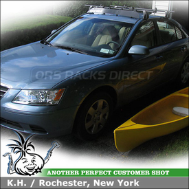 "2009 Hyundai Sonata Roof Rack for Canoe with Yakima Q Tower System, Gunwale Brackets Canoe Rack & 44"" Wind Fairing"