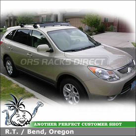 2009 Hyundai Veracruz Roof Rack with Inno INSU Car Rack System and Inno Wind Faring