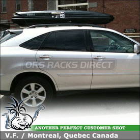 2009 Lexus RX350 Cargo Luggage Roof Box on Factory Rack Crossbars using Thule 602 Ascent 1100 Cargo Carrier Box