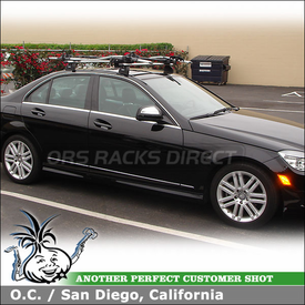 2009 Mercedes C300 Roof Rack Bike Racks System using Thule 460R Rapid Podium Foot Pack, 3049 Podium Fit Kit, 598 Criterium & Xadapt 8 Kit