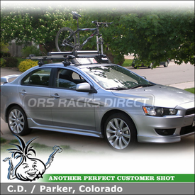 2009 Mitsubishi Lancer GTS Ski-SnowBoard Bike Roof Rack using Thule 480 Traverse Foot Pack, 1477 Traverse Fit Kit, 518 Echelon, 91725 Flat Top & 872XT Fairing