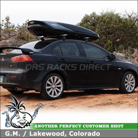 2009 Mitsubishi Lancer Roof Rack Cargo Box using Thule 480R Rapid Traverse, 1477 Traverse Fit Kit & 611 Boxter