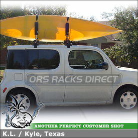 2009 Nissan Cube with Inno Rooftop Rack Wind Fairing Two Kayak System