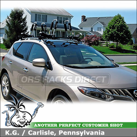 2009 Nissan Murano Kayak Roof Rack using Thule 835PRO Hull-a-Port J-Cradles on Yakima Car Rack Crossbars