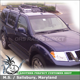 2009 Nissan Pathfinder Roof Rack and Bike Rack with Yakima RailGrab Towers, ForkLift, WheelFork & Car Fairing