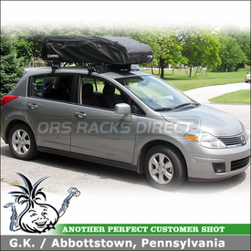2009 Nissan Versa Roof Rack Cargo Carrier-Luggage Roof Bag using Inno INSU Stays, K313 Fit Hooks, BRA120 Flex Top 18 & Wind Fairing