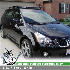 """2009 Pontiac Vibe GT Roof Rack Wind Fairing System using Yakima Q Towers, Q83 & Q34 Clips and 44"""" Fairing"""