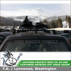2009 Subaru Forester Snowboard Rack for Factory Crossbars using Thule 91725 Universal Flat Top Snowboard-Ski Carrier