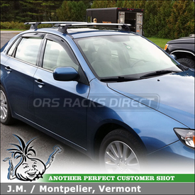 2009 Subaru Impreza Roof Rack Crossbars System using Whispbar Through Bar (includes S16 Through Bars w/ SmartFoot Towers and K368 Fit Kit)