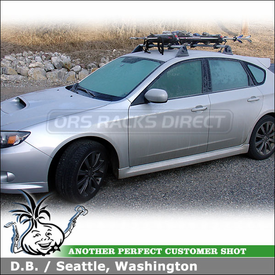 2009 Subaru Impreza Snowboard-Ski Roof Rack with Yakima Buttondown Aero