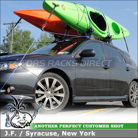 2009 Subaru WRX OEM Rack Mount Kayak Racks using Thule 835XTR Hull-a-Port on Factory Cross Bars