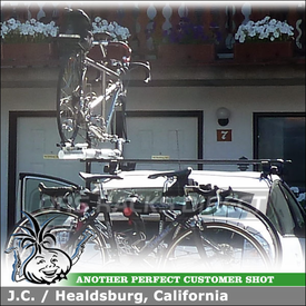 2009 Toyota Prius Tandem Bike Roof Rack System using Inno IN-SU Stays (w/ K108 Fit Hooks & B127 Bars) and RockyMounts R4 Tandem Bike Rack