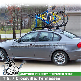 2010 BMW 328i Roof Rack and Bike Carriers with Thule 460 Podium, 3039 Podium Fit Kit & Car Roof Bicycle Racks