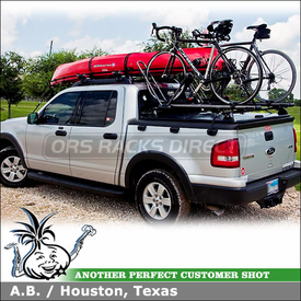 2010 Ford Explorer Sport Trac Canoe Roof Rack & Tonneau Cover Bike Rack using Yakima LP6 Landing Pads, Control Towers, RailGrab, High Roller & Gunwale Brackets
