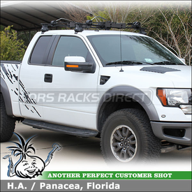 2010 Ford F-150 Raptor Cab Roof Rack for Canoe, Kayak, SUP etc. using Thule 480 Traverse Base Rack w/ Thule 1521 Fit Kit & Inno INA444 Boat Locker