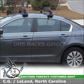 2010 Honda Accord Roof Rack Ski Carrier using Thule 480 Traverse Car Rack with 1560 Fit Kit Clips & Yakima Big Powderhound