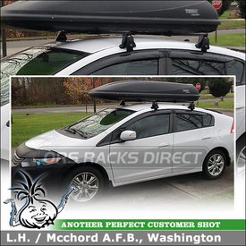 "2010 Honda Insight Roof Rack Cargo Gear Box System using Yakima Q Towers (w/ Q 99 Clips & 48"" Cross Bars) and Thule Luggage Roof Box"