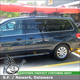 2010 Honda Odyssey Roof Kayak Rack Roller System using Yakima RailGrab Towers, Mako Saddles & ShowBoat Rollers