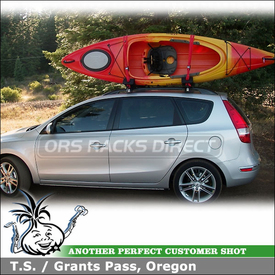 2010 Hyundai Elantra Touring Wagon Roof Rack Kayak Racks System using Malone Universal Cross Rails & AutoLoader J-Cradles