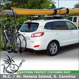 2010 Hyundai Santa Fe Hitch Bike Rack & Roof Kayak Racks using Thule 990XT DoubleTrack, 460 Podium w/ 3024 Fit Kit & 897XT Hullavator