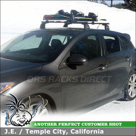 2010 Mazda 3 OEM / Factory Rack Mount Ski-Snowboard Rack using Thule 91725b Flat Top Snowboard-Ski Carrier