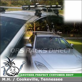 2010 Mazda 6 Roof Rack Kayak Cradles With Thule AeroBlade Crossbars and 835PRO Hull-a-Port