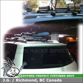 2010 Mercedes Benz GLK-350 Ski Rack for OEM Roof Rack Cross Bars using Thule 91725 Flat Top Ski-Snowboard Carrier