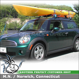2010 Mini Cooper Clubman Roof Rack Kayak Carrier using Thule 450 CrossRoad, 878XT Set-to-Go Saddles & 875XT Hydro-Glide Saddles