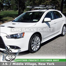 2010 Mitsubishi Lancer Sportback Bike Roof Rack using Thule 460R Rapid Podium & 3071 Fit Kit and 594XT SideArm
