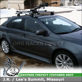2010 Mitsubishi Lancer Sportback Roof Rack Bike Rack using Thule 460R Rapid Podium & 3071 Fit Kit and 594XT SideArm