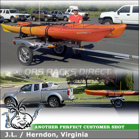 "2010 Nissan Frontier Kayak Trailer using 66"" Yakima RACKandROLL Trailer & Yakima LandShark Saddles Kayak Racks"