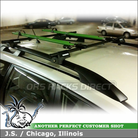 2010 Subaru Forester Roof Rack Bike Racks using Yakima RailGrab Towers & RockyMounts PitchFork Bicycle Carriers