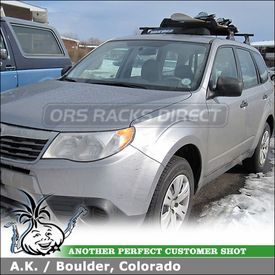 2010 Subaru Forester Ski-Snowboard Roof Rack using Yakima Control Towers, LP11 Landing Pads, ButtonDown Aero & Fairing