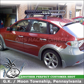 2010 Subaru Impreza Outback Sport Roof Rack Luggage Basket using Yakima LoadWarrior Gear Basket & Cargo Net
